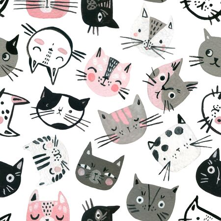 Cartoon watercolor cats seamless pattern in pastel colors. Cute kitten faces background for kids design. Hand painted art illustration in scandinavian style