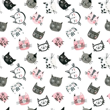 Watercolor cute cats faces seamless pattern. Sweet cat muzzles background. Nursery design in scandinavian style. Hand painted childish background for textile, fabric, wrapping paper etc