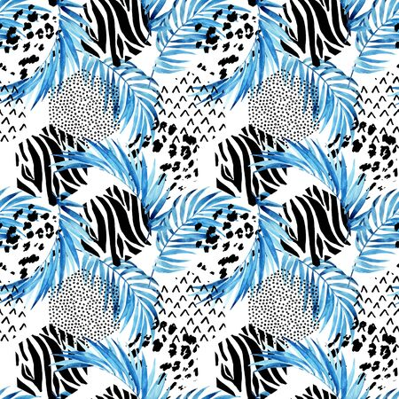 Blue watercolor tropical leaves and ornated triangles background. Unusual water color florals and geometric shapes. Hand painted summer travel seamless pattern. Geo art illustration for modern design 写真素材
