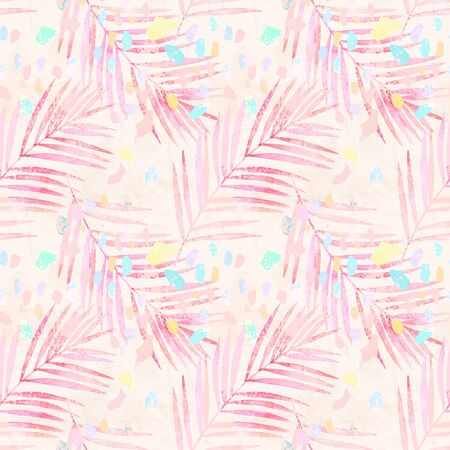Artistic watercolor palm leaves, pastel colored confetti seamless pattern. Creative grunge background with colorful hand drawn brush strokes, tropical leaf. Contemporary art for summer surface design