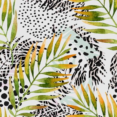 Abstract summer seamless pattern. Watercolor palm leaves and geometric background: triangles, doodle, gradient texture, 80s 90s shapes, memphis elements, animal print stripes. Hand drawn illustration