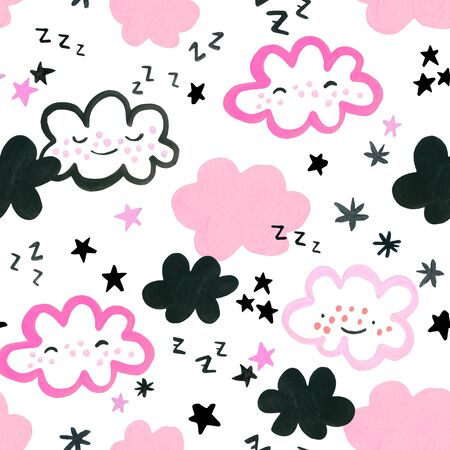 Funny sleeping clouds and stars background. Watercolor drawing of cartoon dreaming smiling cloud, star in pastel colors. Nursery art seamless pattern. Hand painted cute sky characters illustration
