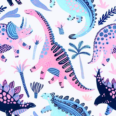 Cute cartoon dinosaurs seamless pattern in scandinavian style. Hand painted watercolor dino and tropical florals illustration. Nursery art for childish background, fabric, textile, wallpaper, paper