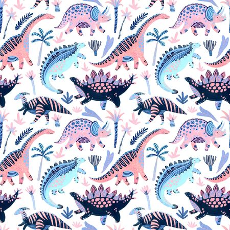 Cute cartoon dinosaurs seamless pattern in scandinavian style. Hand painted watercolor dino character, tropical florals background. Nursery art illustration for childish design, fabric, textile, paper 写真素材