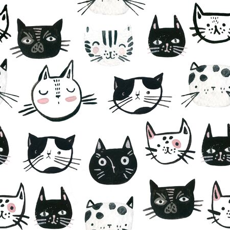 Watercolor cute cats faces seamless pattern. Sweet cat muzzles black and white background. Nursery design in scandinavian style. Hand painted kids background for textile, fabric, wrapping paper etc