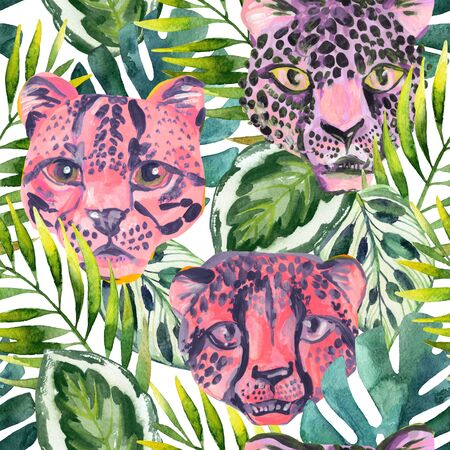 Cool trendy african animals seamless pattern. Watercolor animal print pattern with cute leopard, cheetah, jaguar muzzles in jungle. Summer nature graphic background. Hand painted art illustration