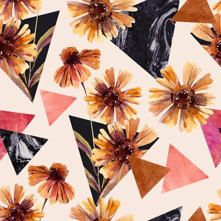 Autumn watercolor flowers and marbled triangles seamless pattern. Geometric floral shapes background. Hand drawn water color art illustration for modern fall surface design