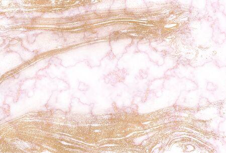 Shiny gold marble texture background. Ebru ink background. Marbleized paper. Digital marbling illustration 写真素材