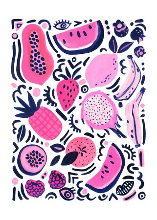 Tropical fruits poster. Unusual background with watermelon, banana, orange, lemon, raspberry, papaya, dragon fruit, strawberry, pop art doodles. Hand painted watercolor illustration in 80s 90s style. Banco de Imagens