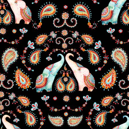 Tribal watercolor seamless pattern: elephant, paisley ornament. Ethnic indian elephants background. Hand drawn illustration for prints, wallpaper, cloth design, fabric, paper, textile, nursery design Stock Photo