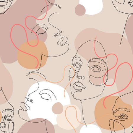Abstract woman portrait seamless pattern. Female face one line drawing on minimal shapes and curved lines background. Women portraits illustration for fashion design. Beauty line art in blush colors
