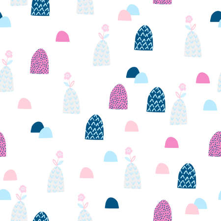 Cute garden seamless patten. Cartoon blooming flowers on hills background. Spring concept in childish style. Hand drawn vector illustration for wallpaper, textile, fabric design