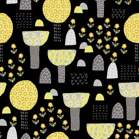 Cute garden seamless pattern. Cartoon blooming trees and flowers background. Spring concept in childish style. Hand drawn vector illustration for wallpaper, textile, fabric design 向量圖像