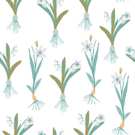 Botanical floral seamless pattern. Blooming spring flowers with bulbs in a row. Hand drawn vector illustration for wallpaper, textile, fabric, surface design Vetores