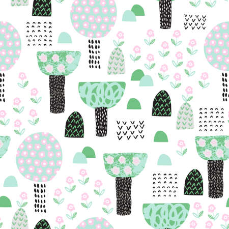 Cute garden seamless patten. Cartoon blooming trees and flowers background. Spring concept in childish style. Hand drawn vector illustration for wallpaper, textile, fabric design