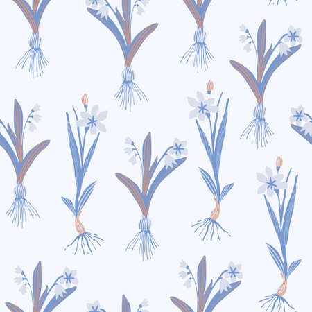 Botanical floral seamless pattern. Blooming spring flowers with bulbs in a row. Hand drawn vector illustration for wallpaper, textile, fabric, surface design