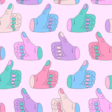 Abstract hands showing thumb up in minimalistic pop art style on pastel background. Like pose sign, symbol seamless pattern. Gesture with finger up for poster, textile, wallpaper, psychedelic design.