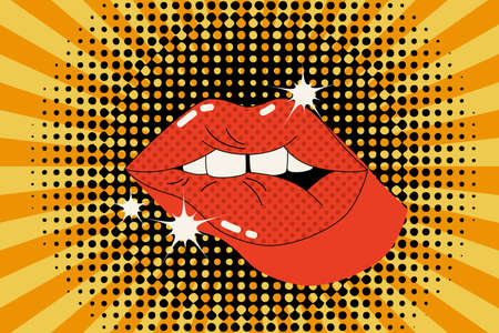 Comic lips background in pop art pin up style. Sensual mouth with teeth, flashing lights retro background . Bold vector illustration for fashion, pin up poster, template design