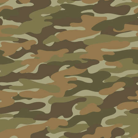 Abstract camouflage seamless pattern. Camo background, natural curved wavy shapes, forms. Military print in classic style. Vector illustration for surface design, wallpaper, textile.
