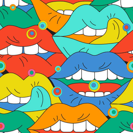 Comic lips background in pop art, psychedelic, graffiti style. Funky open mouth with teeth, sensual lips, positive emotions seamless pattern . Bold vector illustration for unusual contemporary design Vettoriali