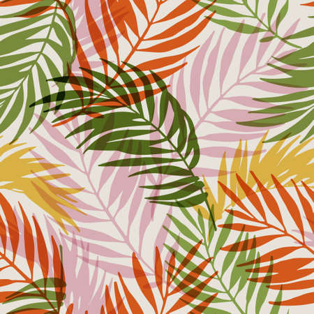 Natural jungle seamless pattern. Hand drawn abstract tropical summer background : palm tree leaves silhouettes. Vector art illustration in retro gradient colors. Hand drawn tropics design