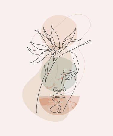 Modern continuous line art of woman face with geometric shapes, tropical strelitzia flower. Hand drawn illustration for fashion design, T-shirt, poster, cover, home decoration, Vector one line drawing Vecteurs