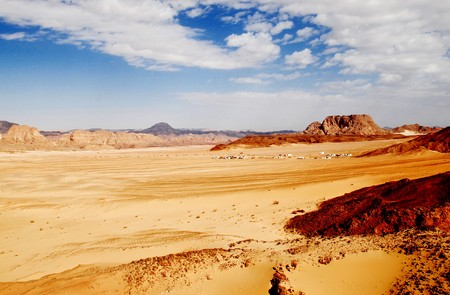 desert valley with blue sky and yellow sand in Sinai