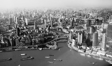 panoramic view of Shanghai with a birds-eye view