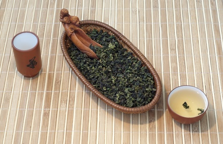 Leaf of chinese green tea tieguanyin with spoon and cup of tea Stock Photo