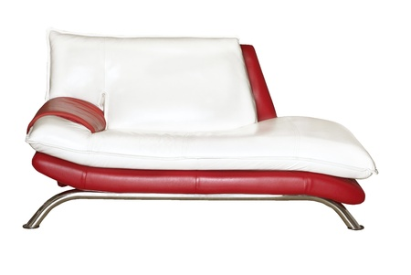 Red and white couch isolated on the white background