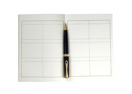 writing book: Scrivere il libro con una penna nera isolato su sfondo bianco