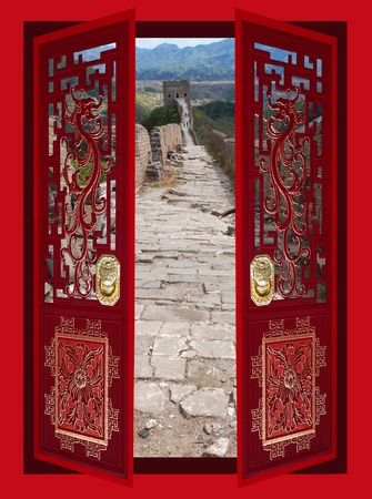red door: Collage of Chinese decorative gates and the great wall