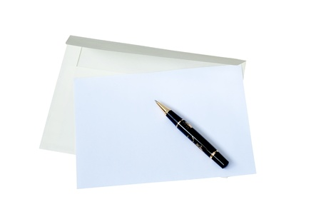 Envelope with empty blank and black pen on white background