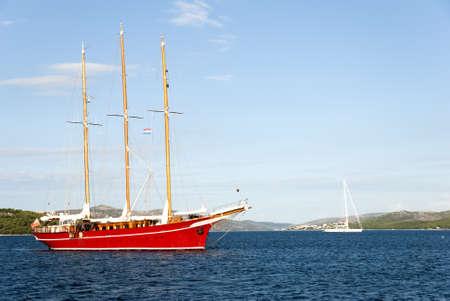 Sea adriatic landscape with  big red ship  Stock Photo