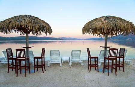 Early morning on the Adriatic beach in Croatia photo