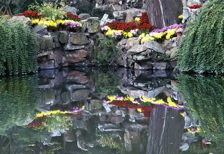 The idyllic park landscape with reflection in water