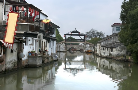 Ancient architecture in  chinese river village Tongli Editorial