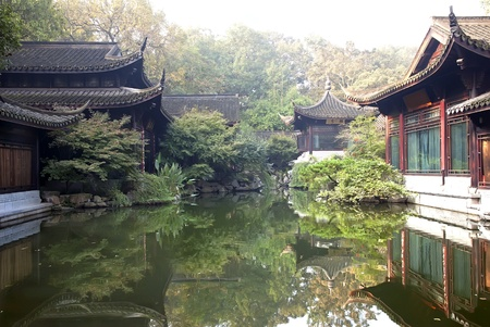 Pavilions in classic chinese garden in Hangzhou Editorial