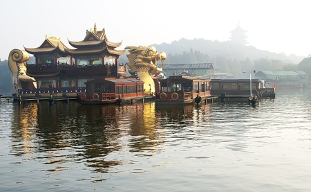 Chinese pleasure boat dragon on Xihu lake in Hangzhou