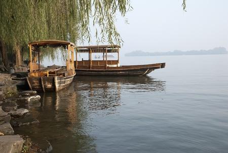 Pleasure boats on Xihu lake in Hangzhou Editorial