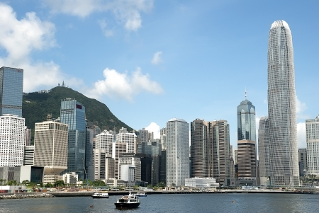 spectacular views of Victoria harbor in Hong Kong