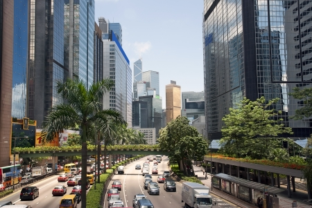 The modern urban landscape and traffic of Hong Kong