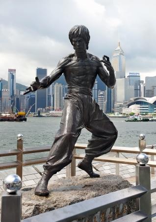 HONG KONG - JULY 14: Bruce Lee monument  at Avenue of Stars in Hong Kong, July 14, 2012. Editorial