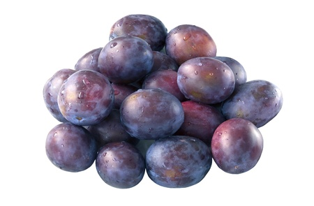 Fresh purple raw plums on the white background