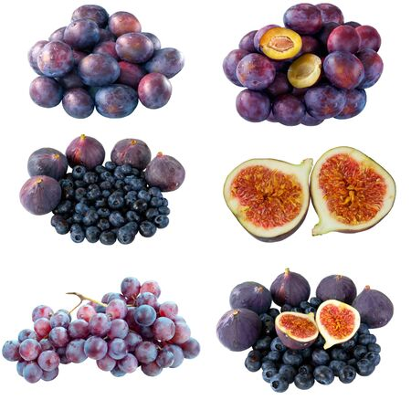 Mix of purple berries on white background photo