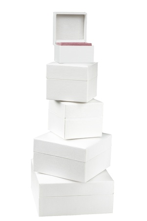 gift packs: Empty white boxes isolated on white background