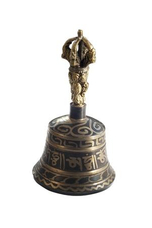 bell bronze bell: Bronce campana tibetana aislada en el fondo blanco Foto de archivo