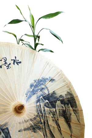 Traditional chinese paper umbrella and green bamboo