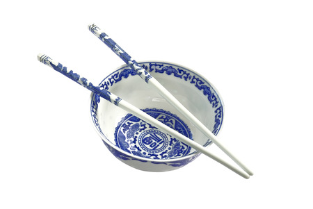 bawl: Blue and white chinese traditional bawl with sticks