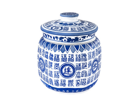 Blue and white chinese traditional container for tea
